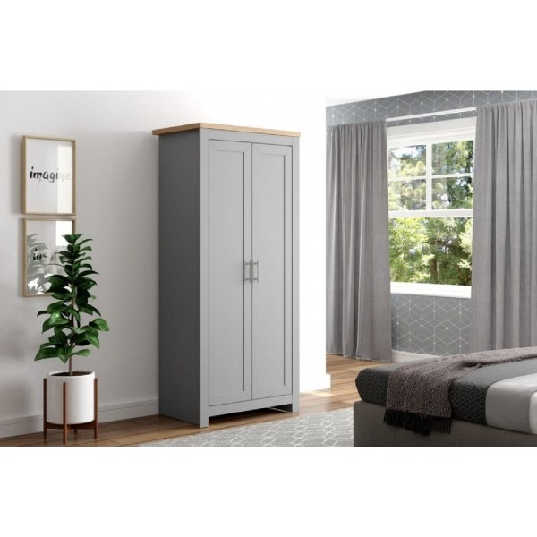 Winchester Grey & Oak 2 Door Wardrobe**DISC**