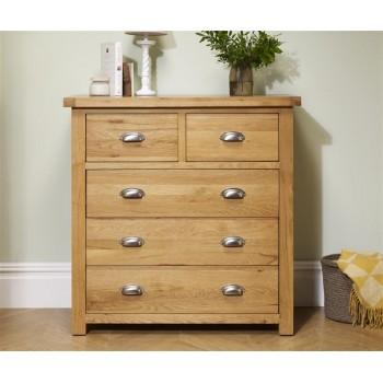 Woburn Oak 3+2 Drawer Chest (Assembled)