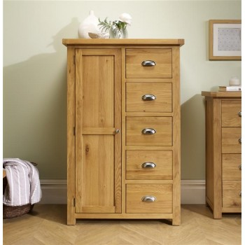 Woburn Oak 1 Door + 5 Drawer Wardrobe
