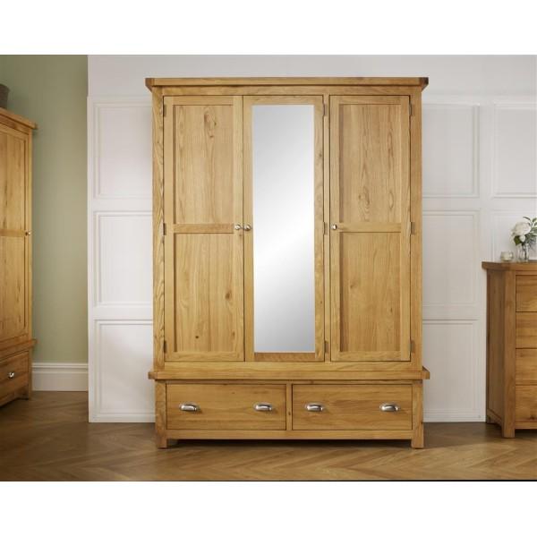 Woburn Oak 3 Door + 2 Drawer Wardrobe