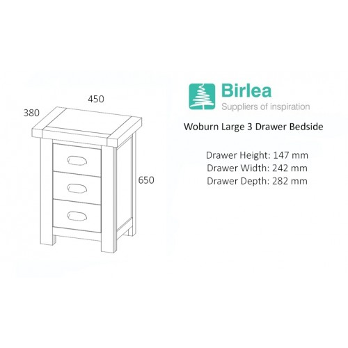 Woburn Oak Large Bedside Cabinet (Assembled)