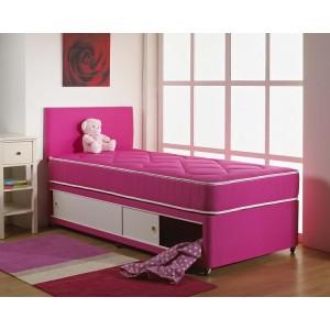Kids Pink Cotton Divan Bed