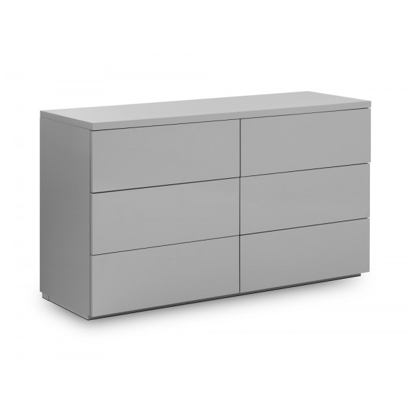 Monaco Grey High Gloss 6 Drawer Chest