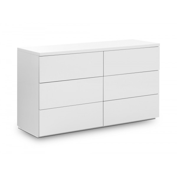 Monaco White High Gloss 6 Drawer Chest