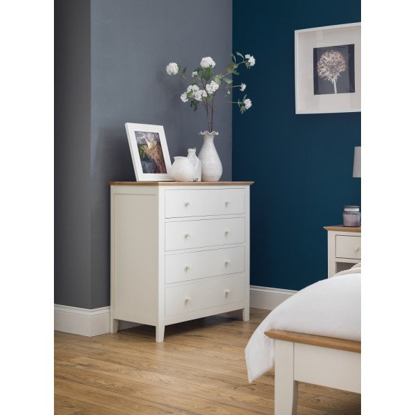 Salerno Ivory + Oak 4 Drawer Chest