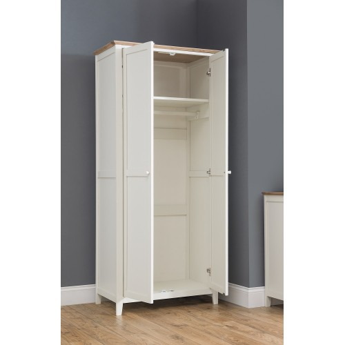 Salerno Ivory + Oak 2 Door Wardrobe