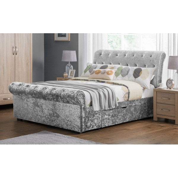 Verona Silver Crush 2 Drawer Bed