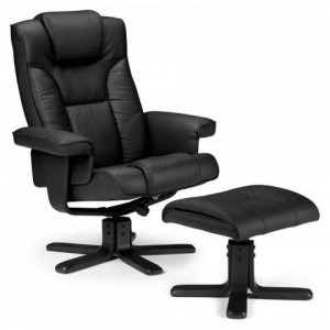 Malmo Black Recliner & Foot Stool