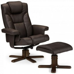 Malmo Brown Recliner & Foot Stool