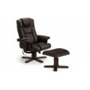 Malmo Black Massage Recliner & Foot Stool