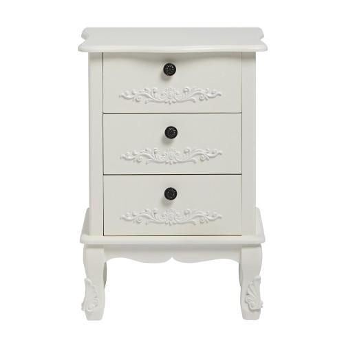 Antoinette White 3 Drawer Bedside [Assembled]