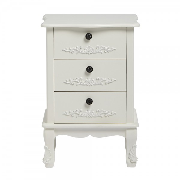Antoinette White 3 Drawer Bedside [Assembled]