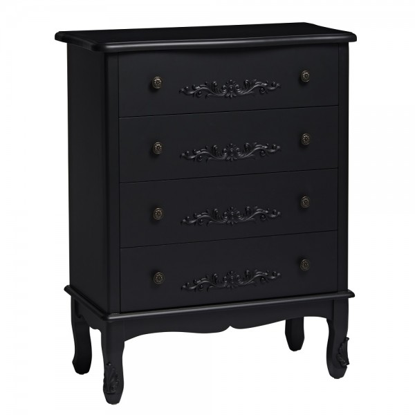 Antoinette Black 4 Drawer Chest [Assembled]