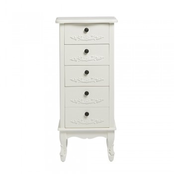 Antoinette White 5 Drawer Tallboy [Assembled]