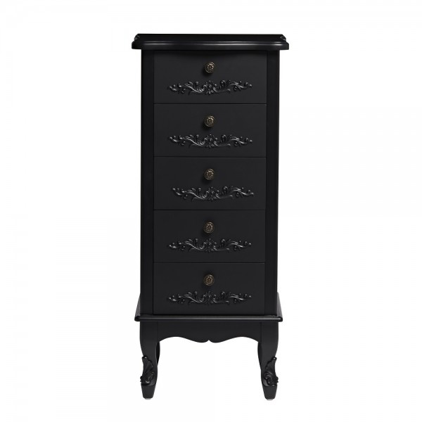 Antoinette Black 5 Drawer Tallboy [Assembled]