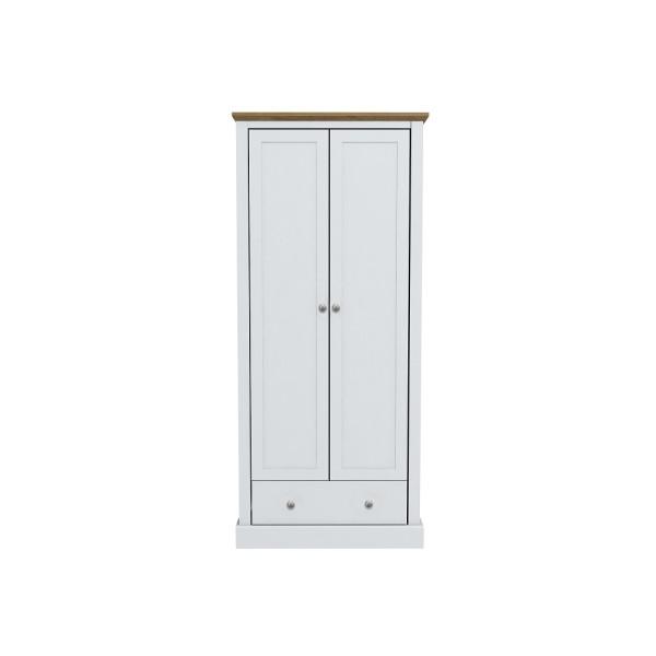 Devon 2 Door + 1 Drawer Wardrobe (White)