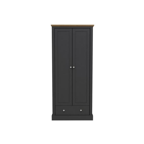 Devon 2 Door + 1 Drawer Wardrobe (Charcoal)