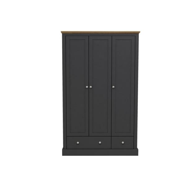 Devon 3 Door + 2 Drawer Wardrobe (Charcoal)