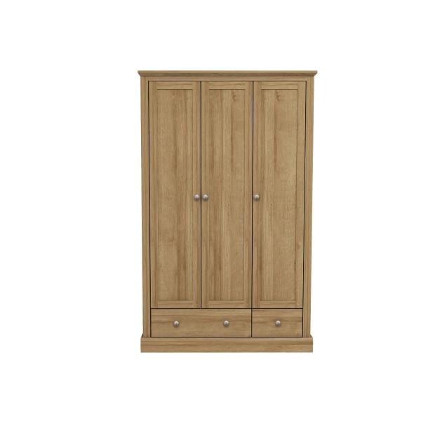 Devon 3 Door + 2 Drawer Wardrobe (Oak)