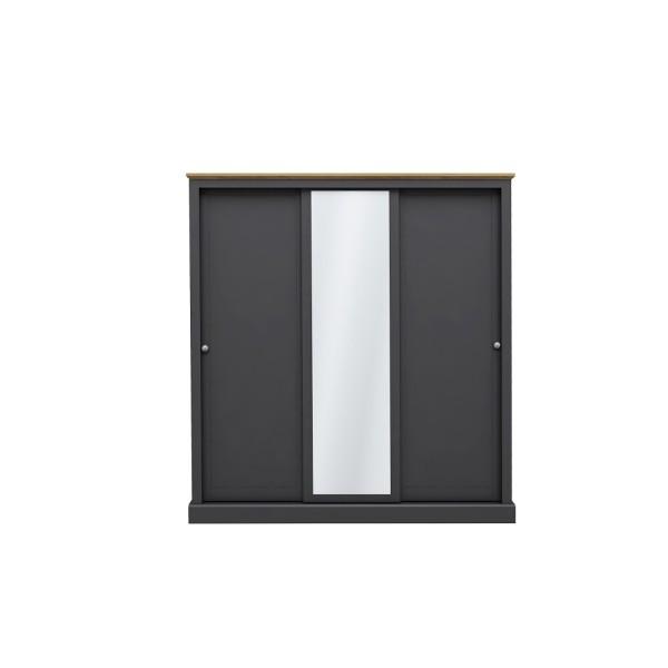Devon 3 Door Sliding Wardrobe (Charcoal)