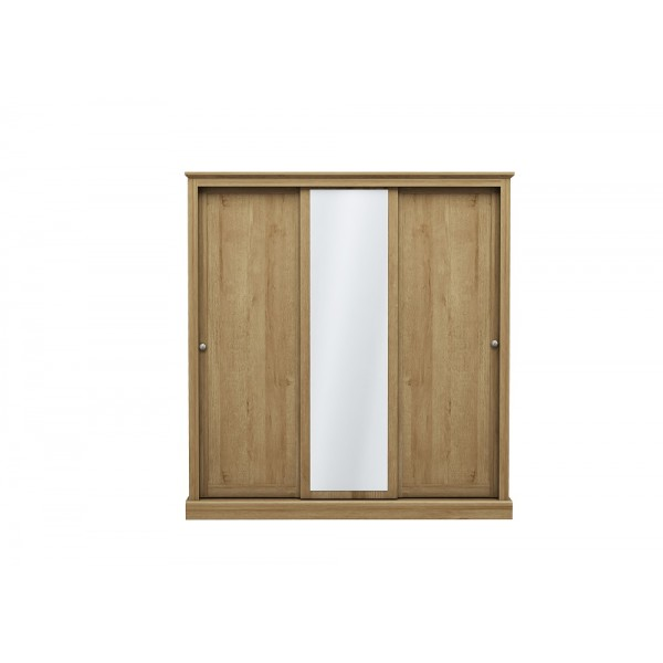 Devon 3 Door Sliding Wardrobe (Oak)