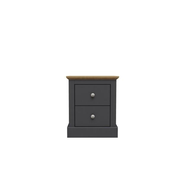 Devon 2 Drawer Bedside (Charcoal)