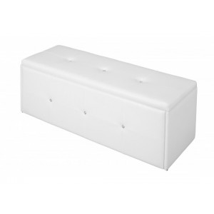 Diamante White Storage Stool