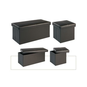 Madrid Black Medium Storage Stool