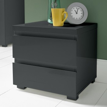 Puro Charcoal Highgloss Bedside Cabinet
