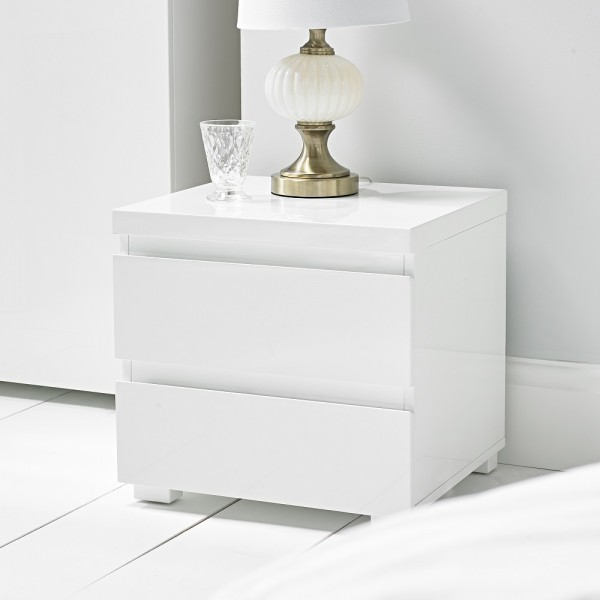 Puro White Highgloss Bedside Cabinet