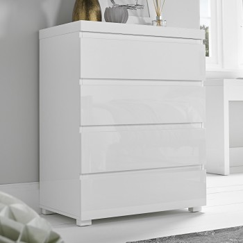 Puro White Highgloss 4 Drawer Chest