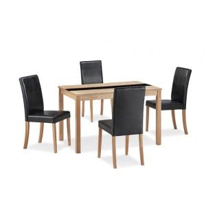 Ashleigh Medium Dining Set in Ash & Black {Table + 4}