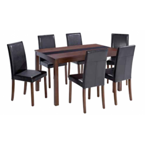 Ashleigh Large Dining Set in Walnut & Black {Table + 6}