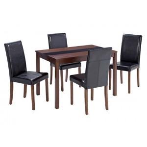 Ashleigh Medium Dining Set in Walnut & Black {Table + 4}