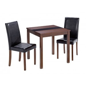 Ashleigh Small Dining Set in Walnut & Black {Table + 2}
