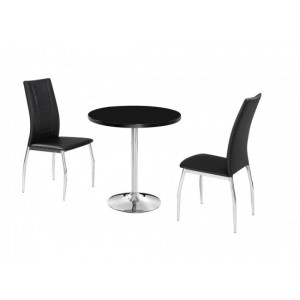 Athena Highgloss Dining Set in Black {Table + 2}