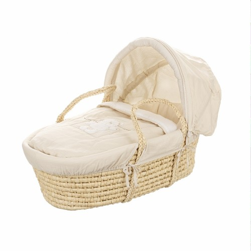 B is for Bear Moses Basket in White