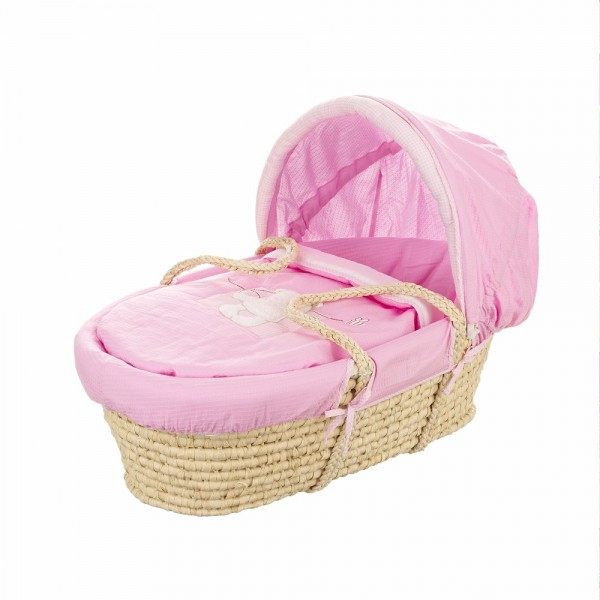 B is for Bear Moses Basket in Pink
