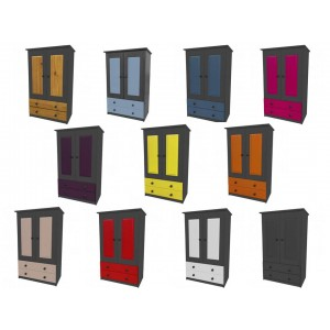 Verona 2 Door Graphite Tallboy + Drawers with various colours