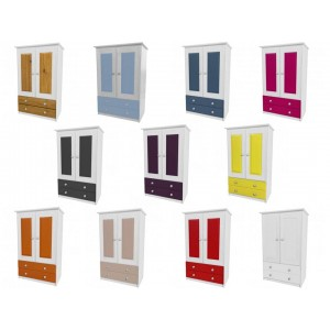 Verona 2 Door Whitewash Tallboy + Drawers with various colours