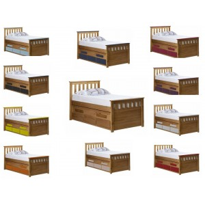Bergamo Captains Antique Pine Shorty Bed with various Colours