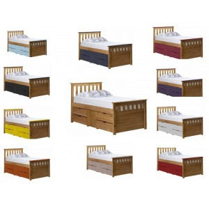 Ferrara Captain Storage Antique Pine Bed with various Colours *Out of Stock - Back March 2017*