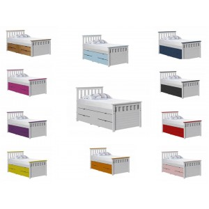 Ferrara Captain Storage Whitewash Bed with various Colours *Out of Stock - Back March 2017*