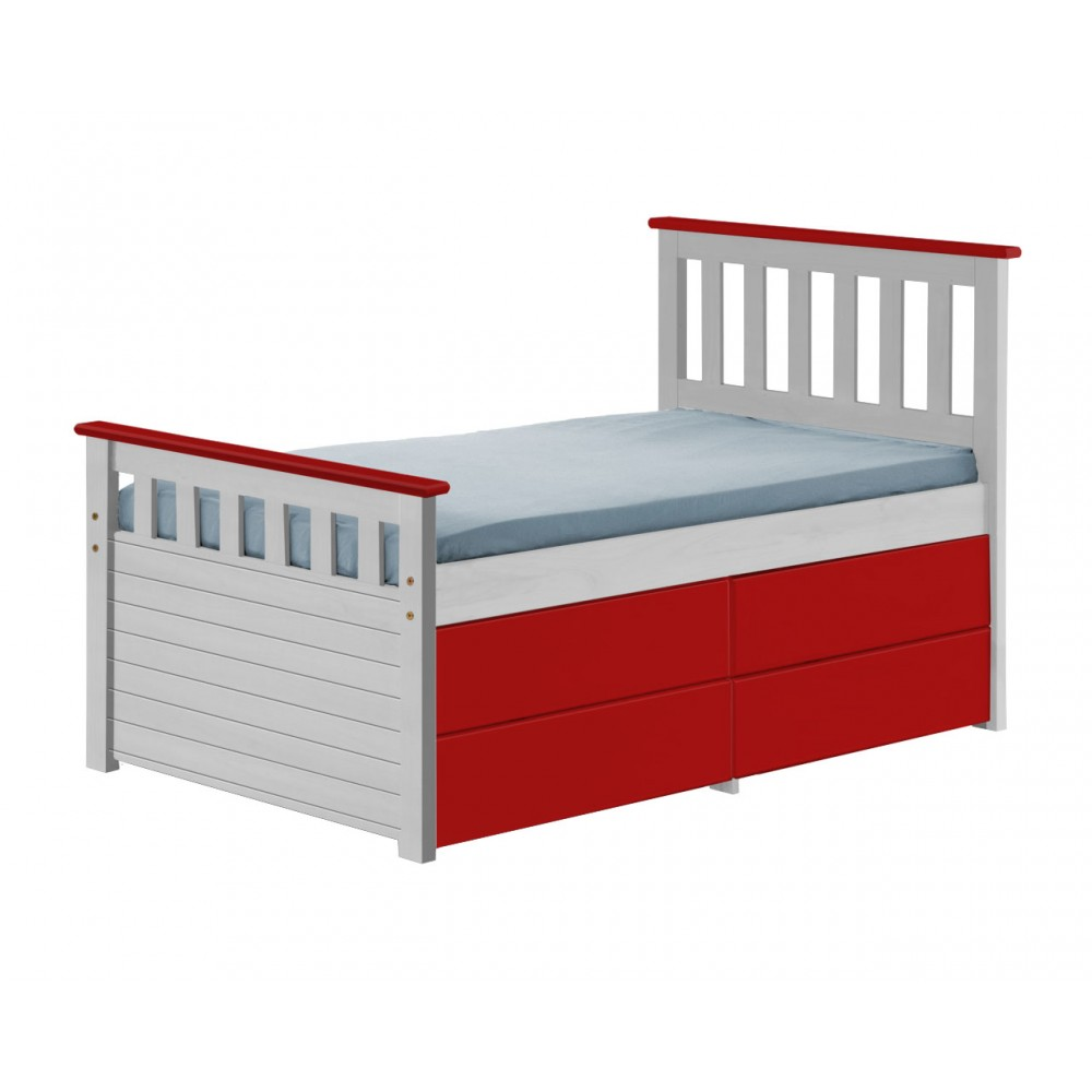 Ferrara Captain Storage Shorty Bed In Whitewash With Various Colours