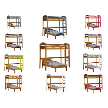 Maximus L-Shape High Sleeper Antique Pine Frame with various Colours