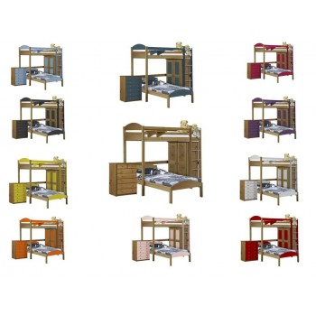 Maximus L-Shape High Sleeper Antique Pine {Bed Set 2} with various Colours