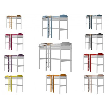 Maximus Central High Sleeper Whitewash Frame with various Colours