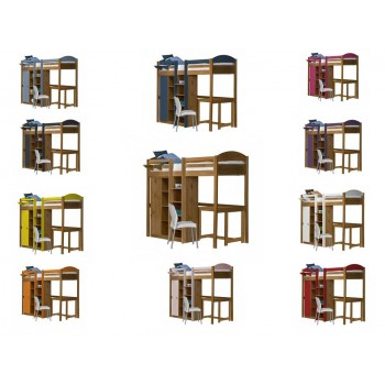 Maximus Central High Sleeper Antique Pine {Bed Set 2} with various Colours *Out of Stock - Back Soon*