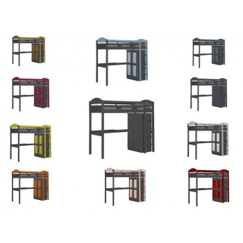 Maximus High Sleeper Graphite {Bed Set 1} with various Colours
