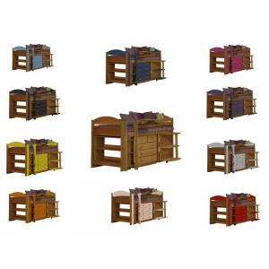 Maximus Mid-Sleeper Antique Pine {Bed Set 1} with various colours